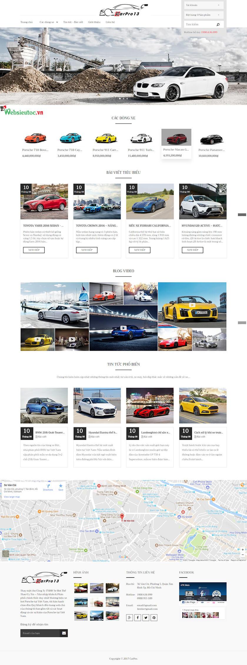 mẫu web ô tô