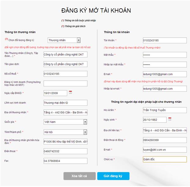 Quy trình đăng kí website TMĐT