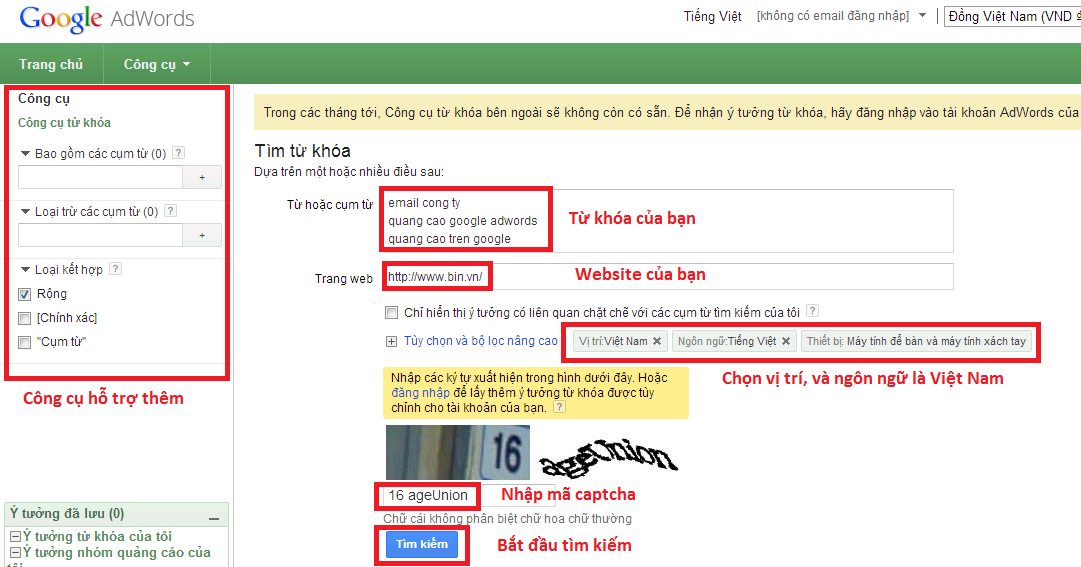 Thủ thuật tìm kiếm Google Adword