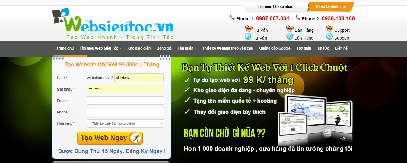 Thiết kế Website Siêu Tốc trong vòng 30 giây